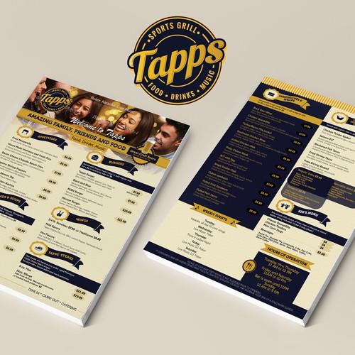 TAPPS Sport Grill Menu Design