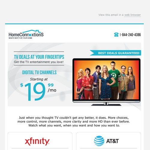 Email Designs for multi-varient test for Xfinity and AT&T