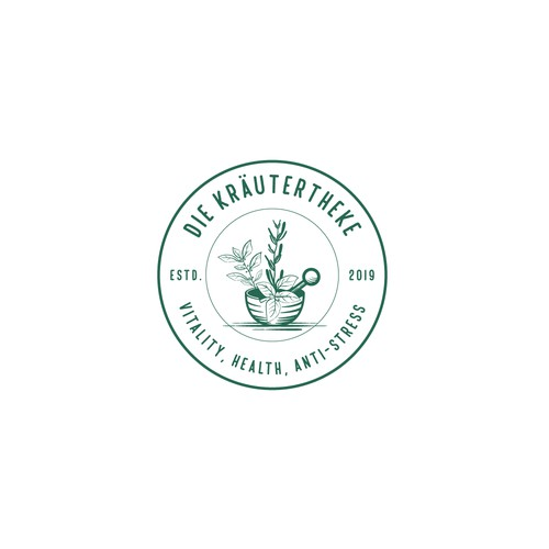Logo concept for trade in herbs, producing vital powder, food, Attached to a naturopathic practice