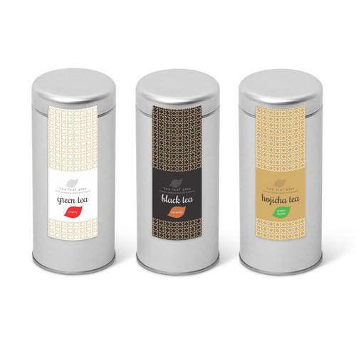 Create a label for Flavored Japanese Tea Tin