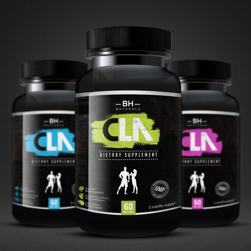 Bold supplement label design
