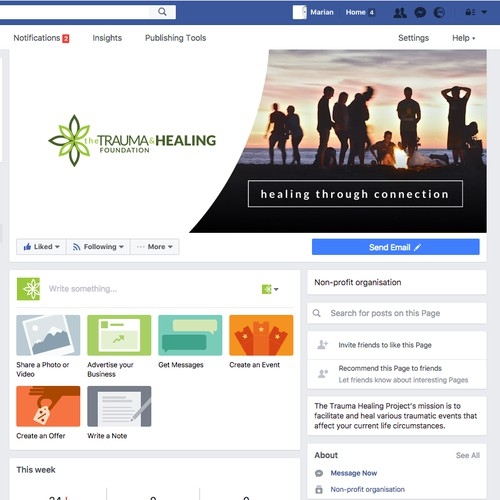 Facebook Cover concept for The Trauma And Healing Foundation