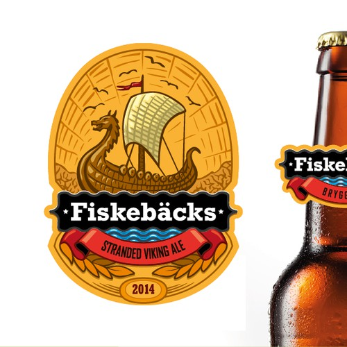 "Beer label for ""Fiskebäcks bryggeriet"""
