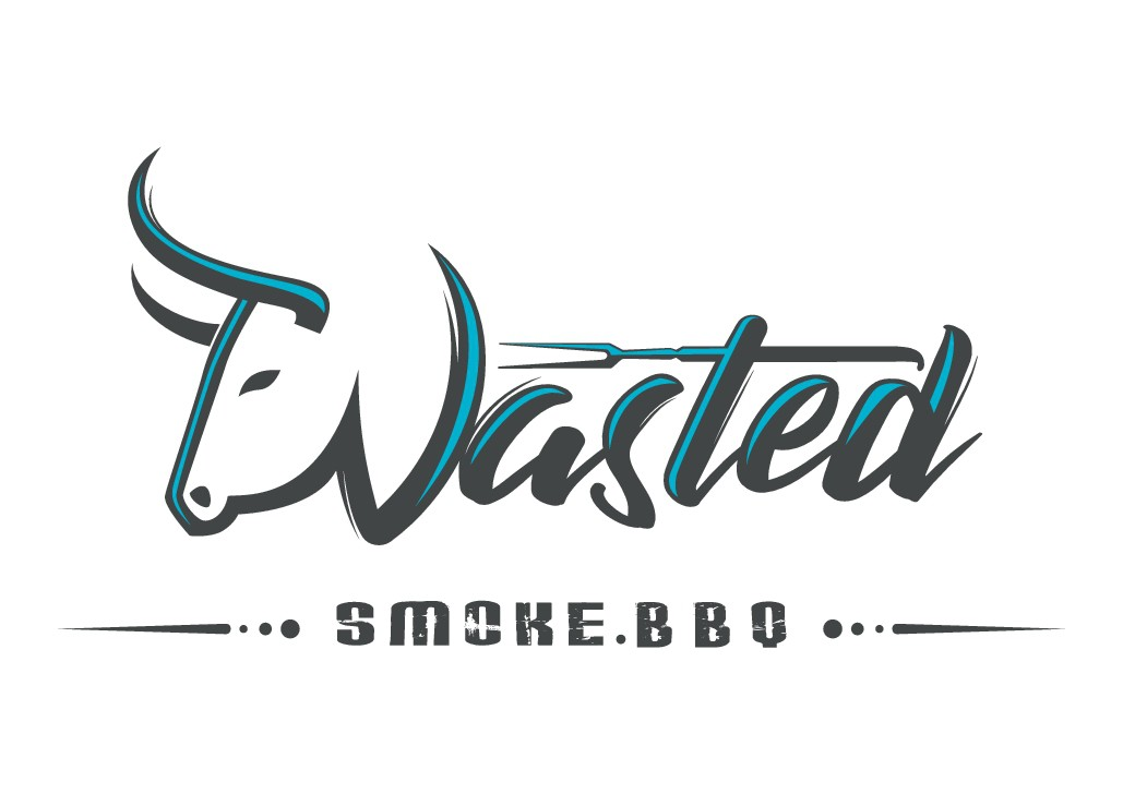 BBQ smoking competition bad ass logo with name Wasted Smoke