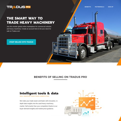 Landing Page for Tradus Pro from OLX