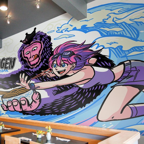 Mural illustration for a restaurant