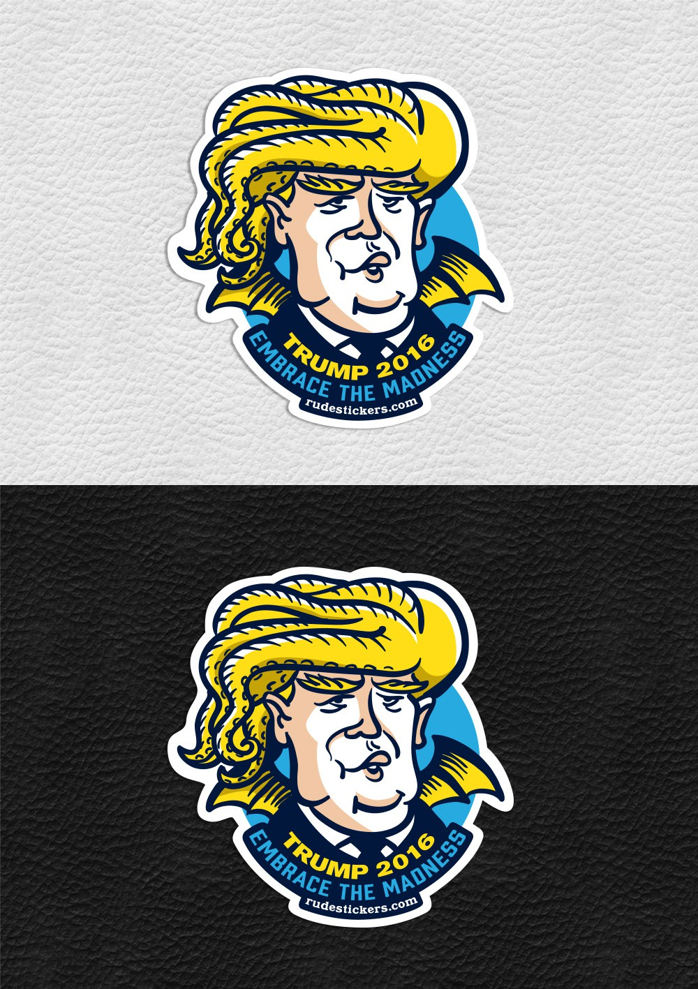 Create a humorous sticker design of Trump as Cthulhu for Rude Stickers.