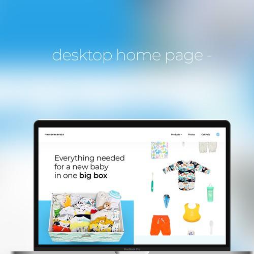 desktop web page design concept for baby box website