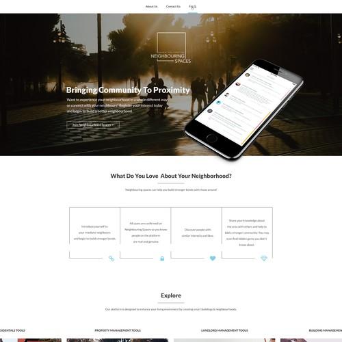 Simple clean design for Neighborhood web app