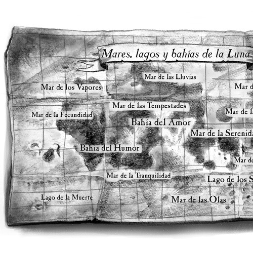 a sketched map of the moon