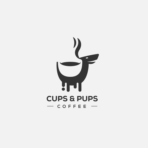 Logo for cups and pups coffee shop