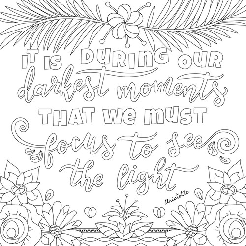 Hand lettered coloring  page