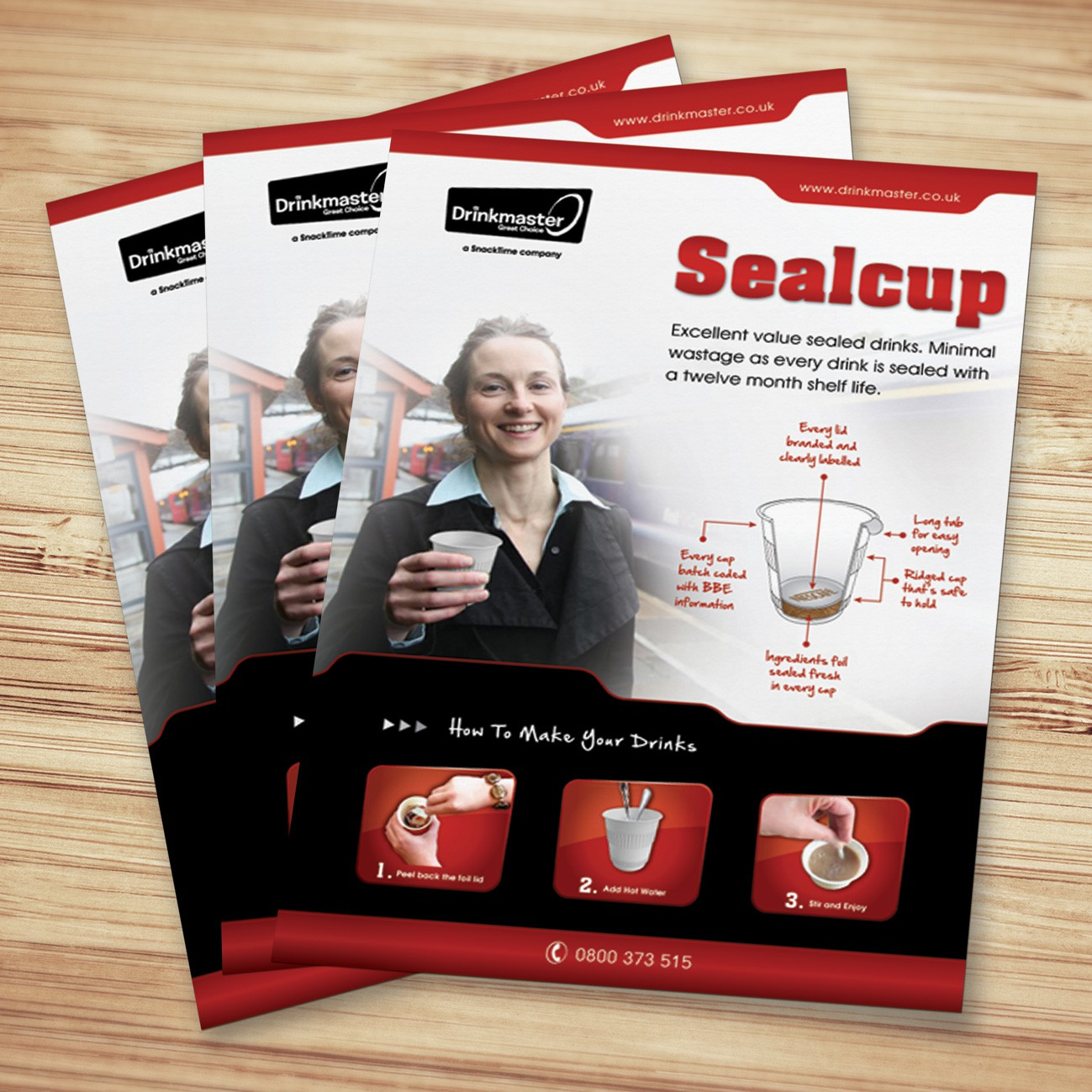 Brochure design for cool sealed-in-the-cup instant drink product