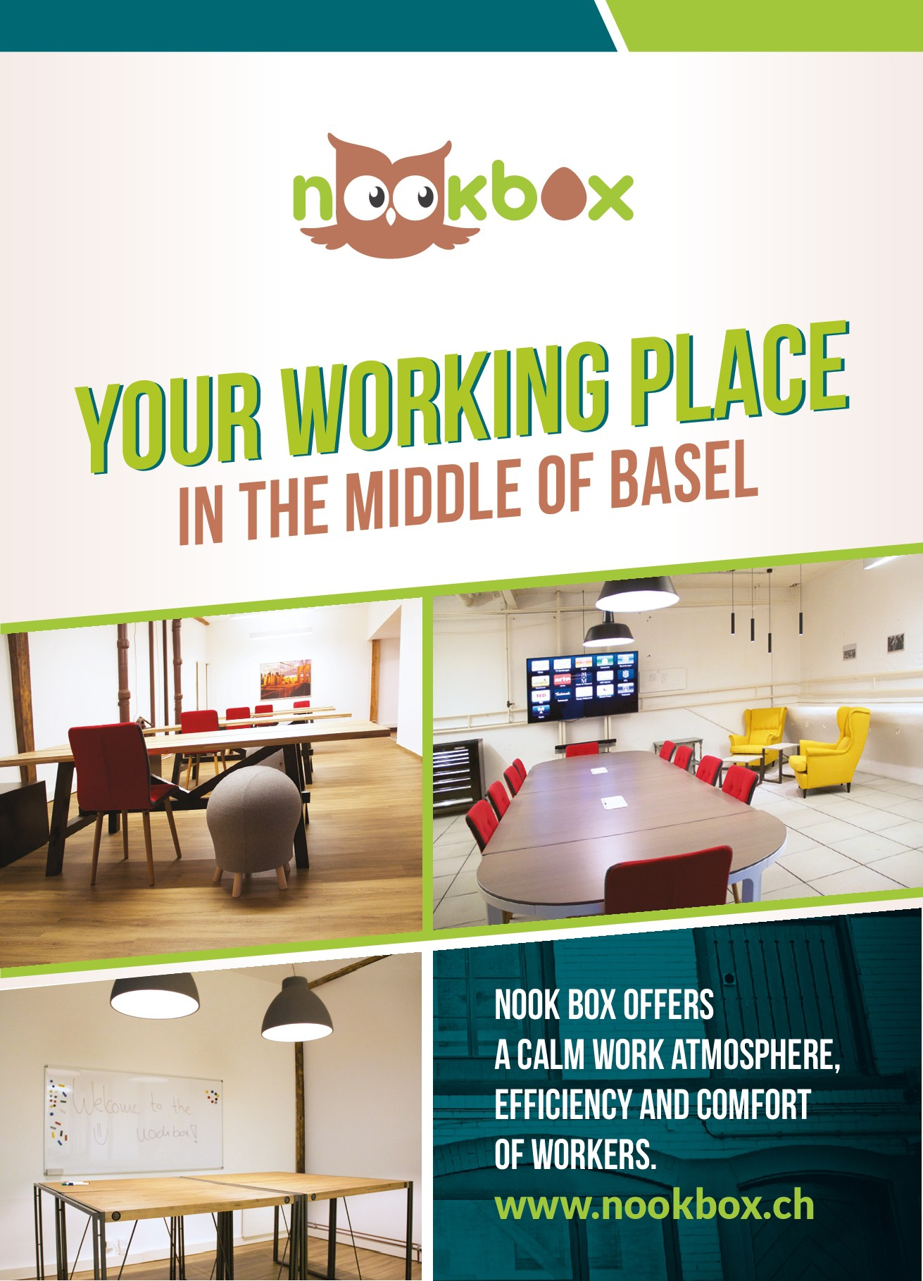 Create an attractive flyer advertising Nookbox/co-working space