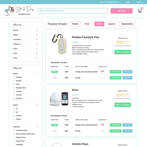 Marketplace Web Page Design for Breast Pumps