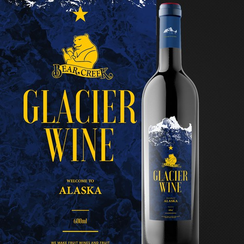 Bold glacier look for a wine bottle