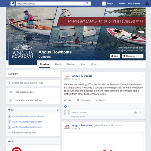Facebook page for a rowboat company
