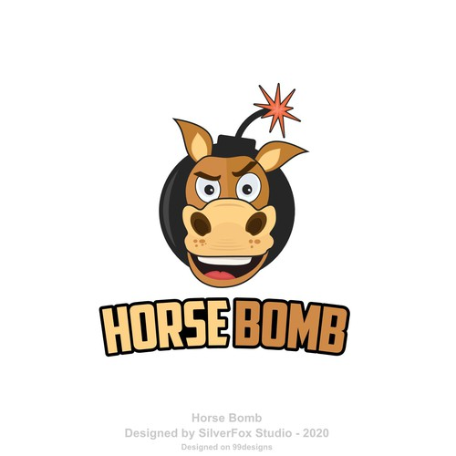 Cartoon mascot logo of horse