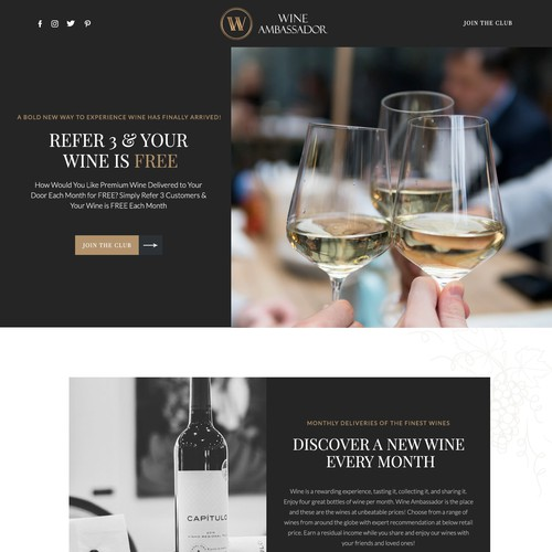 Landing page for wine lovers