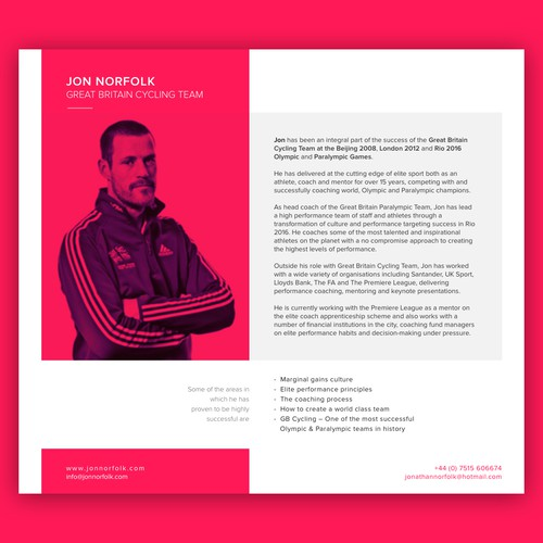 Profile page for an elite sports coach