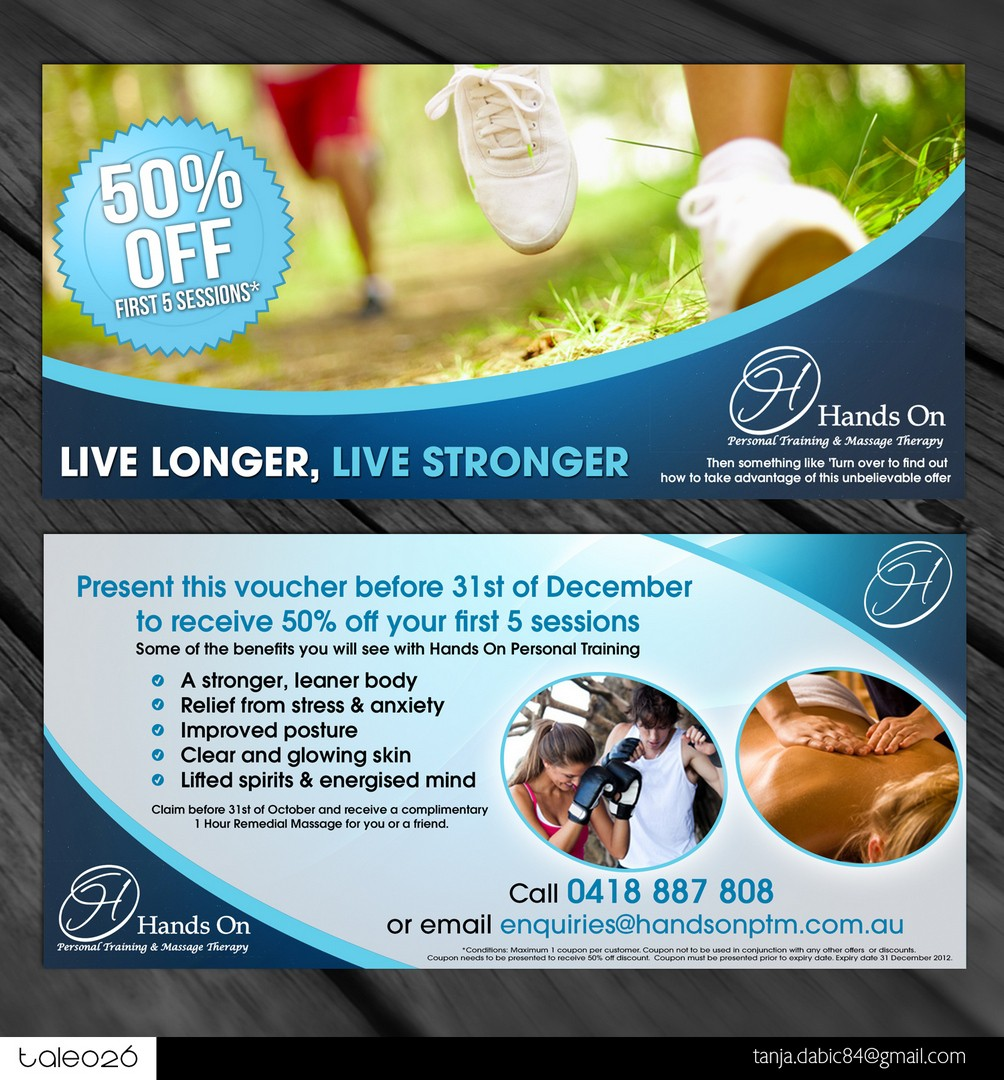 Create the next postcard or flyer for Hands On Personal Training & Massage Therapy