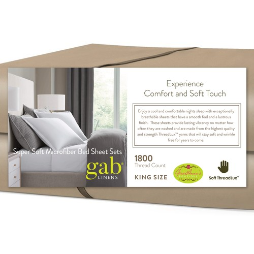 Product packaging label for bed sheet sets