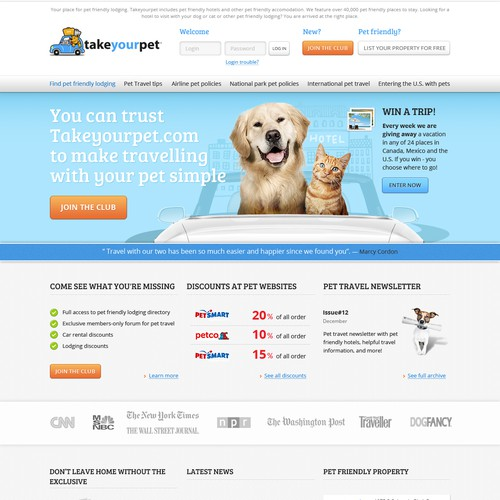 website design for Takeyourpet.com relaunch