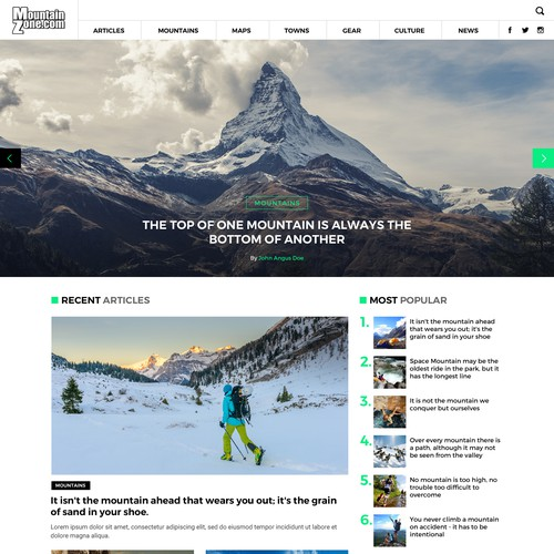 Outdoor Magazine Website Design