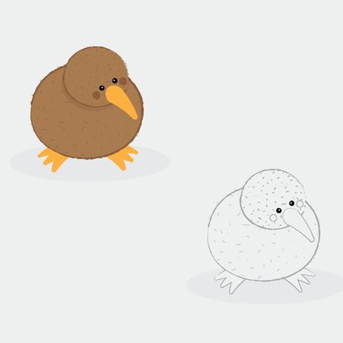 Kiwi Mascot Character Illustration
