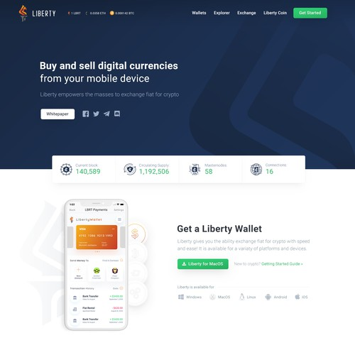 Liberty Cryptocurrency Homepage