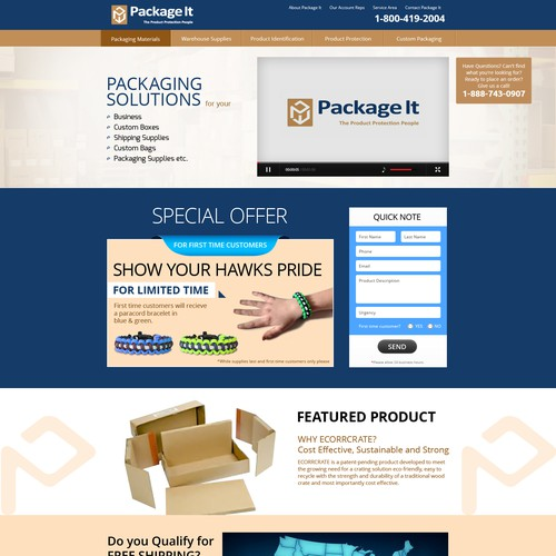Packageit.com - Home Page Re-skinning