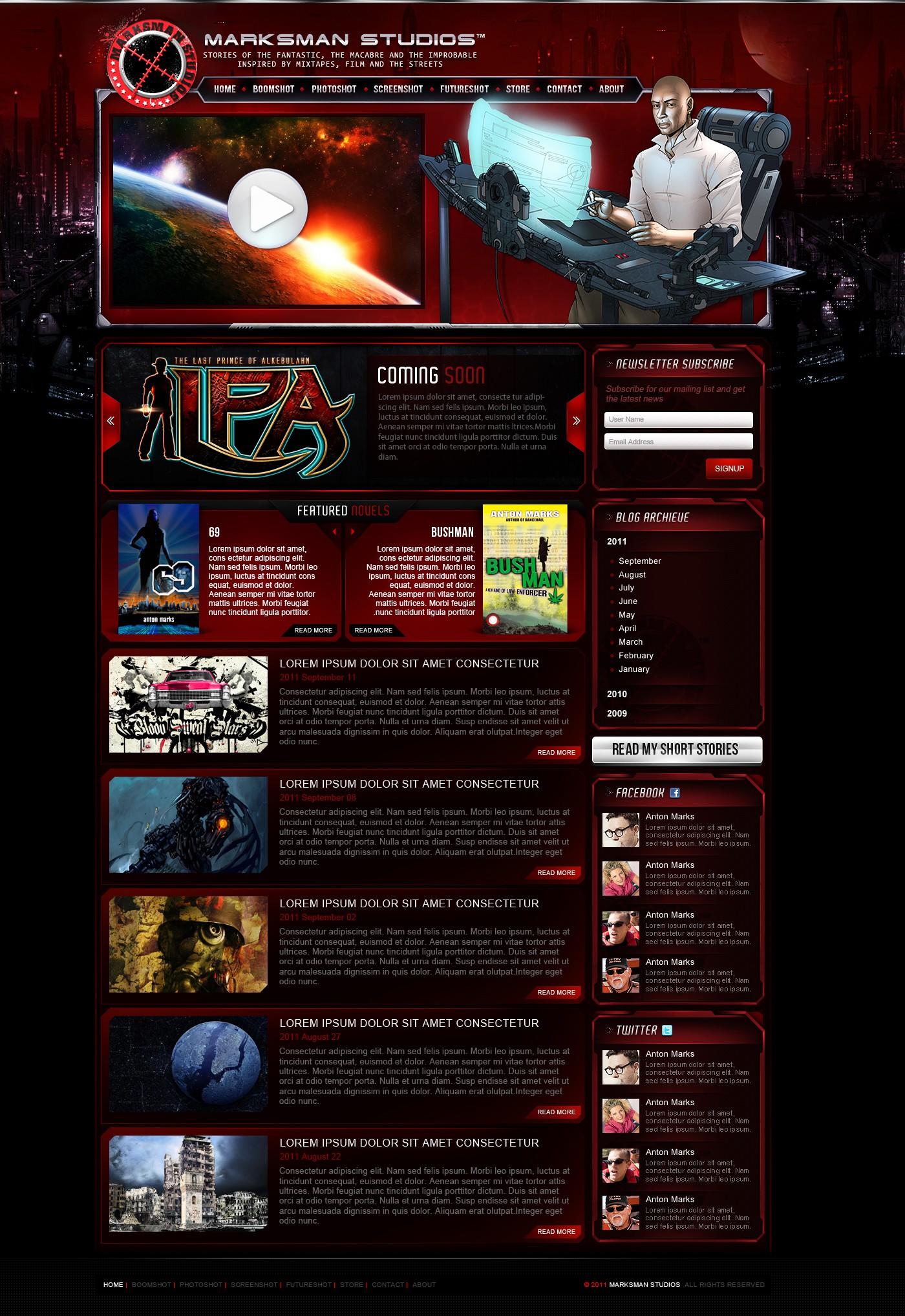Create the next website design for Marksman Studios
