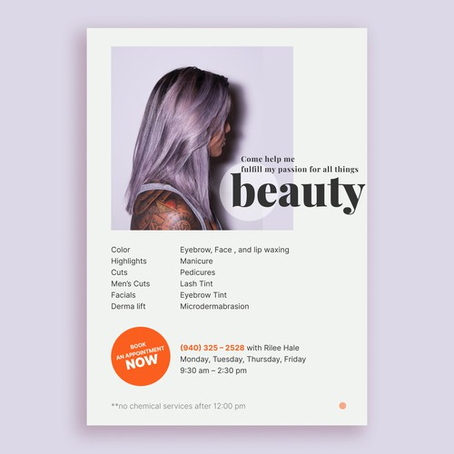 Design for STUDENT ad for hairstyling salon