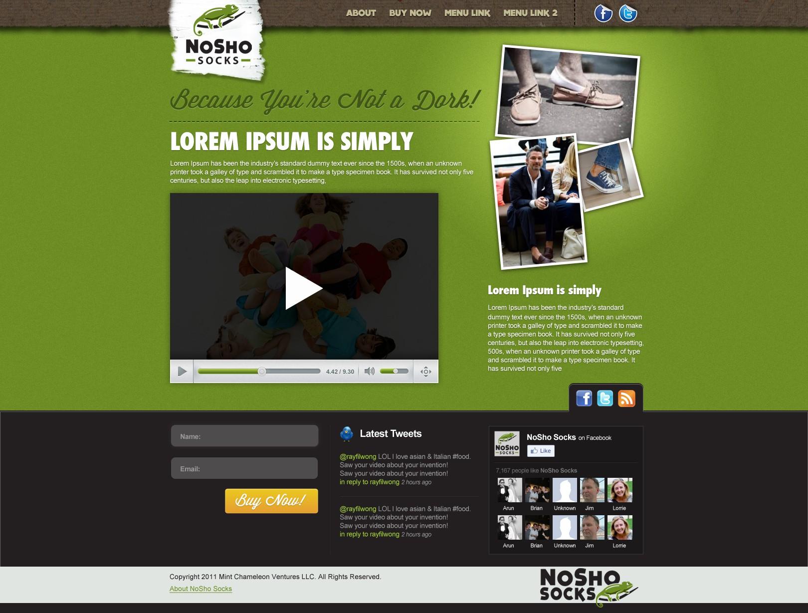 NoSho Socks needs a new website design
