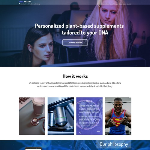 landing page for biotech company