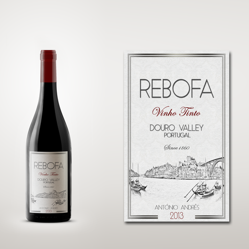 Create a label for a red wine from the Douro Valley - Portugal
