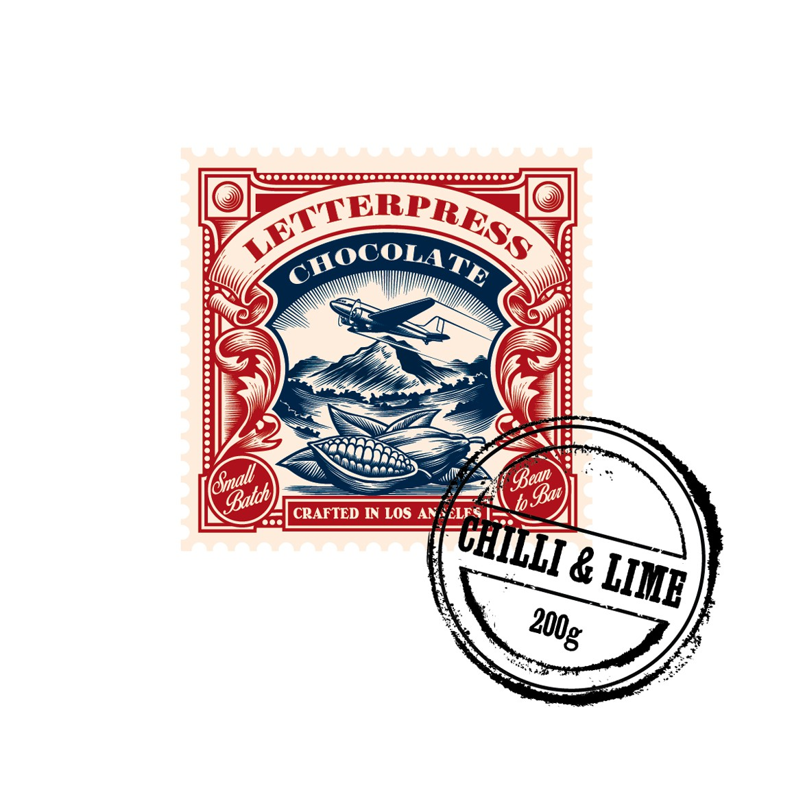 Create a 1920s airmail stamp logo for LetterPress Chocolate