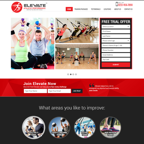 Home page design concept for Elevate