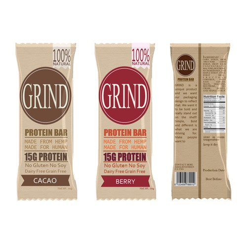 Create a standout SNACK BAR packaging for GRIND