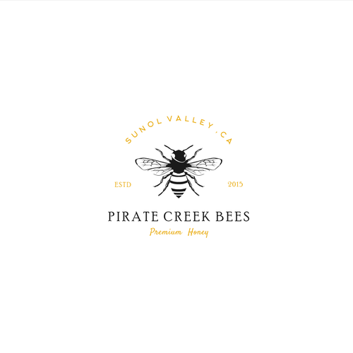 Classic vintage logo for Pirate Creek Bees