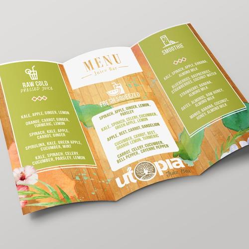 Tri-fold Menu for Juice Bar