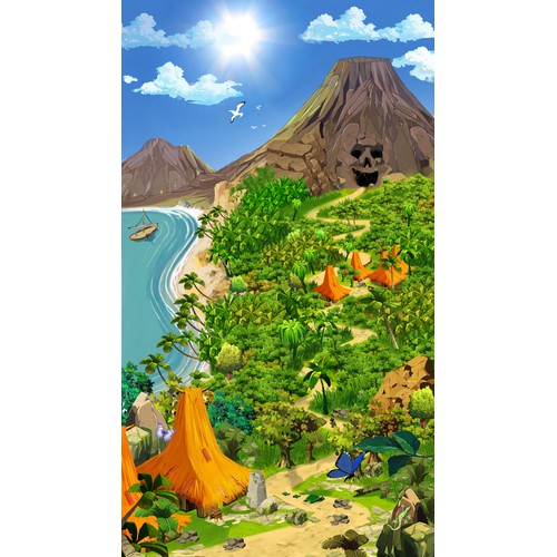 Sinuous path to the treasure on a tropical island for a game