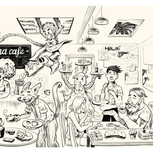 character design et ambiance dans un café