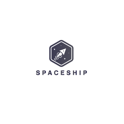 Minimalist spaceship logo for cyberspace company