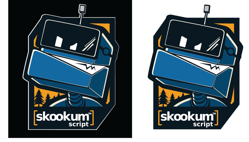 SkookumScript robot logo - in big budget video game - see on X360/PS3/PC box! [Likely future logo/web/mascots/games]