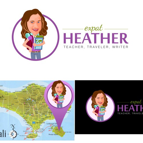 Character logo for travel blogger & teacher