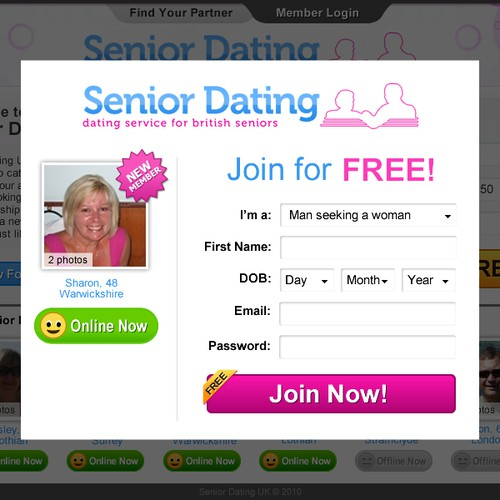 Design Landing Page for Senior Dating Site