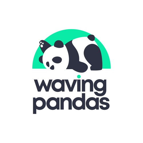 waving lazy panda