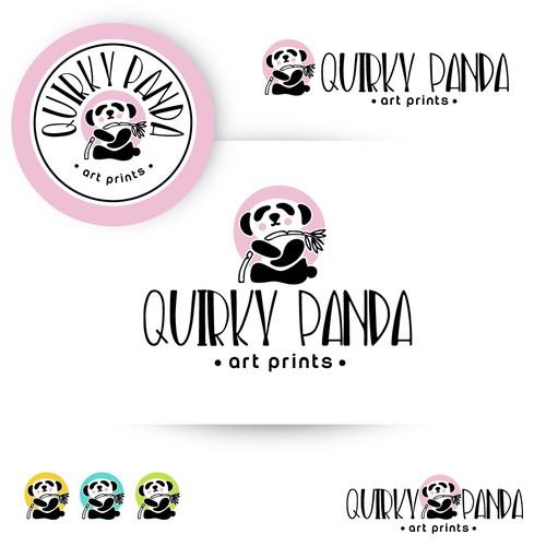 "Logo design for art prints ""Quirky Panda"""