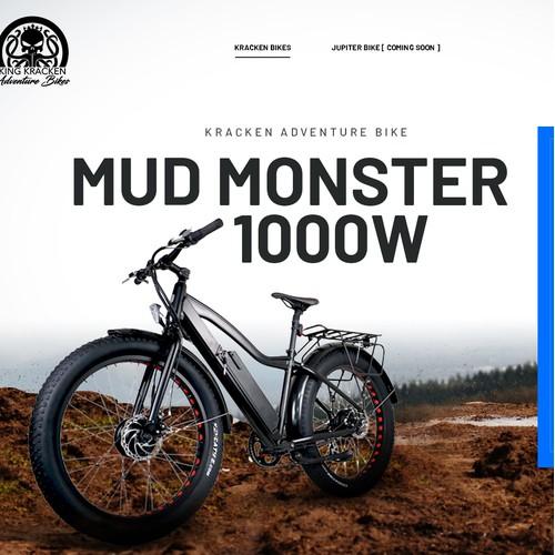 Mud Monster Bicycle landing page design